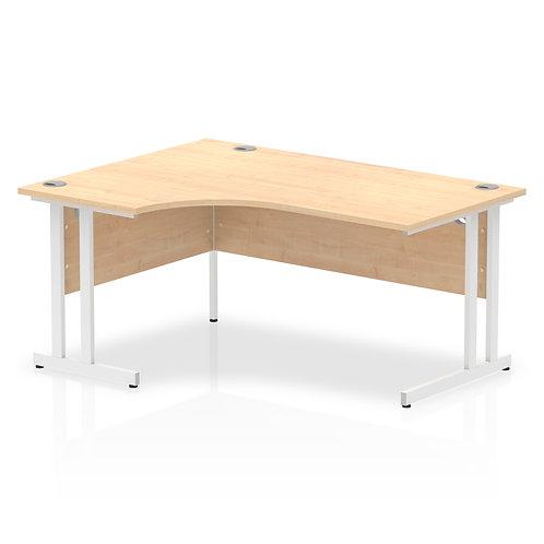 Impulse 1600 Left Hand White Crescent Cantilever Leg Desk Maple