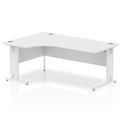 Impulse 1800 Left Hand White Crescent Cable Managed Leg Desk White