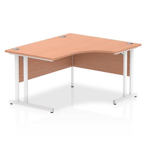 Impulse 1400 Right Hand White Crescent Cantilever Leg Desk Beech