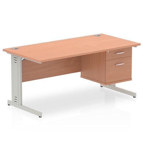 Impulse 1600 Rectangle Desk Beech 1 x 2 Drawer Fixed Ped