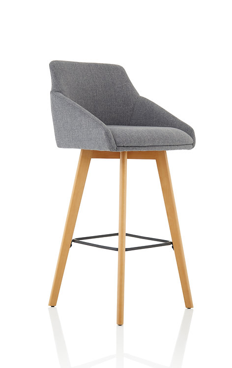 Carmen Grey Fabric Wooden Leg High Stool