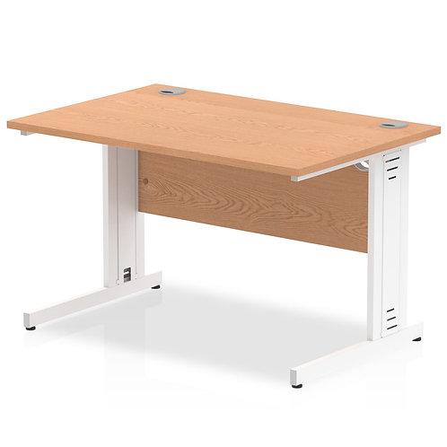 Impulse 1200/800 Rectangle White Cable Managed Leg Desk Oak