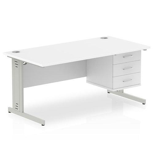 Impulse 1600 Rectangle Desk White 1 x 3 Drawer Fixed Ped