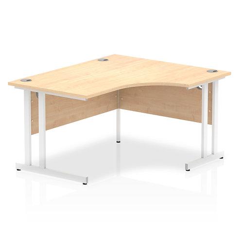 Impulse 1400 Right Hand White Crescent Cantilever Leg Desk Maple