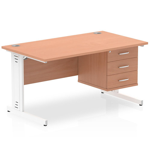 Impulse 1400 Rectangle White Cable Managed Leg Desk Beech 1 x 3 Drawer Fixed Ped