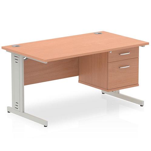Impulse 1400 Rectangle Desk Beech 1 x 2 Drawer Fixed Ped