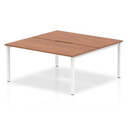 B2B White Frame Bench Desk 1600 Walnut (2 Pod)