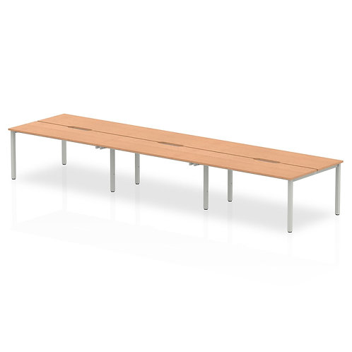 B2B Silver Frame Bench Desk 1400 Oak (6 Pod)