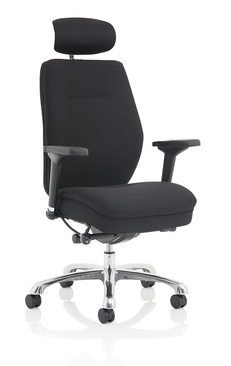 Domino Black Fabric With Arms & Headrest