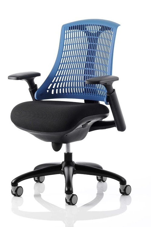 Flex Task Operator Chair Black Frame With Black Fabric Seat Blue Back With Arms