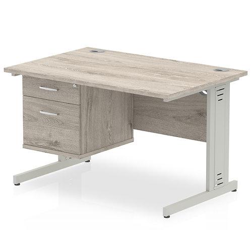 Impulse 1200 Rectangle Desk Grey Oak 1 x 2 Drawer Fixed Ped