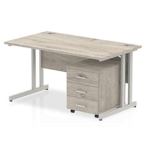 Impulse 1400 Straight Desk Grey Oak Cantilever Leg Pedestal Bundle
