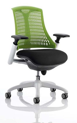 Flex Task Operator Chair White Frame Black Fabric Seat With Green Back With Arms