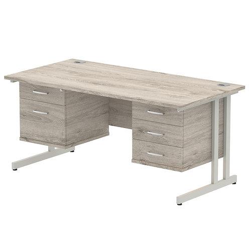 Impulse 1600 Rectangle Desk Grey Oak 1 x 2 Drawer 1 x 3 Drawer Fixed Ped
