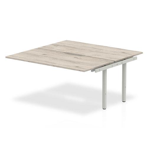 B2B Ext Kit Silver Frame Bench Desk 1400 Grey Oak