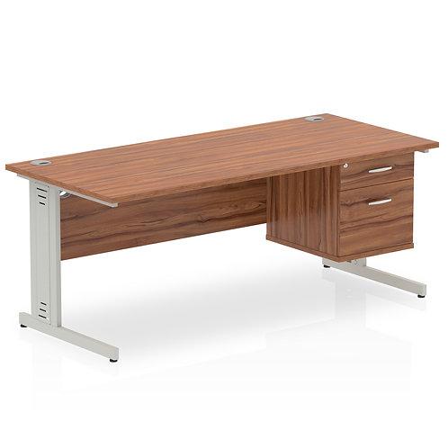 Impulse 1600 Rectangle Desk Walnut 1 x 2 Drawer Fixed Ped