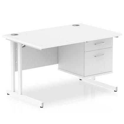 Impulse 1200 Rectangle White Cant Leg Desk White 1 x 2 Drawer Fixed Ped