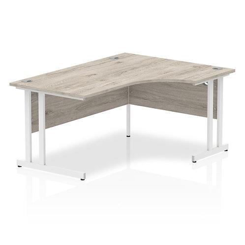 Impulse 1600 Right Hand White Crescent Cantilever Leg Desk Grey Oak