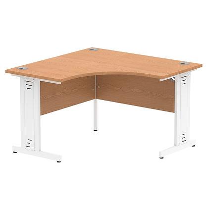 Impulse 1200 Corner Desk White Cable Managed Leg Desk Oak