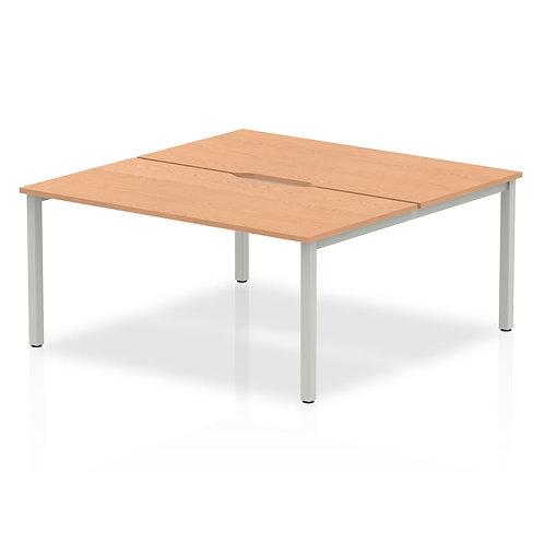 B2B Silver Frame Bench Desk 1600 Oak (2 Pod)