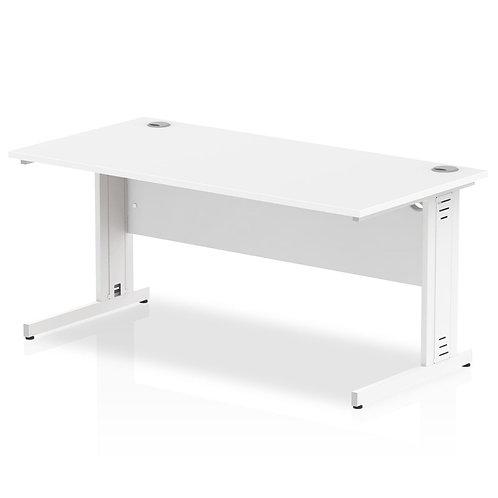 Impulse 1600/800 Rectangle White Cable Managed Leg Desk White