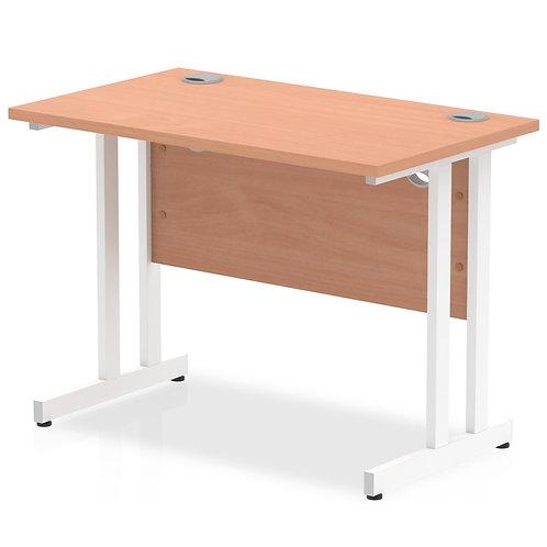 Impulse 1000/600 Rectangle White Cantilever Leg Desk Beech