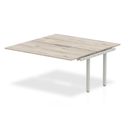 B2B Ext Kit Silver Frame Bench Desk 1200 Grey Oak
