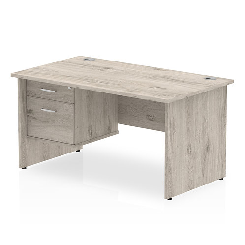 Impulse 1400 Rectangle Panel End Leg Desk Grey Oak 1 x 3 Drawer Fixed Ped