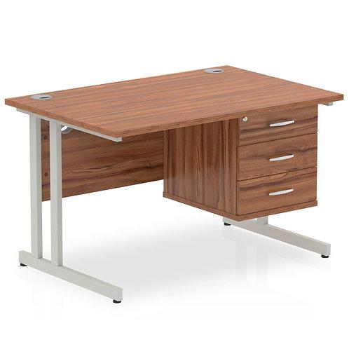 Impulse 1200 Rectangle Silver Cant Leg Desk Walnut 1 x 3 Drawer Fixed Ped