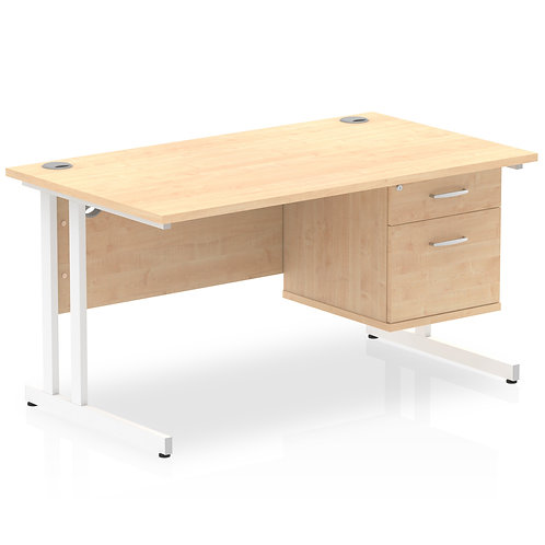 Impulse 1400 Rectangle White Cant Leg Desk Maple 1 x 2 Drawer Fixed Ped