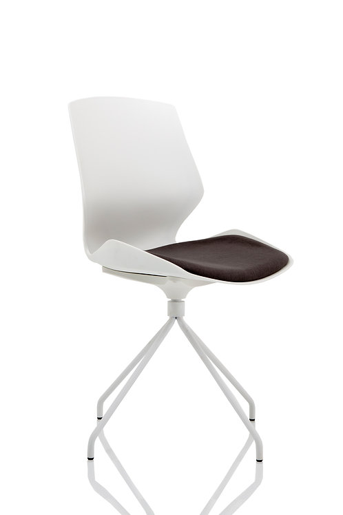 Florence Spindle White Frame Dark Grey Fabric Seat Visitor Chair