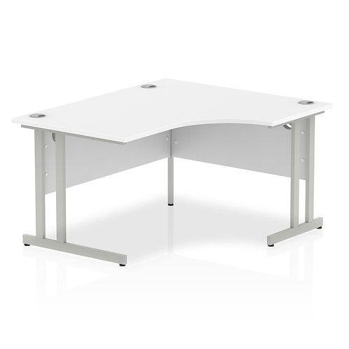 Impulse 1400 Right Hand Silver Crescent Cantilever Leg Desk White