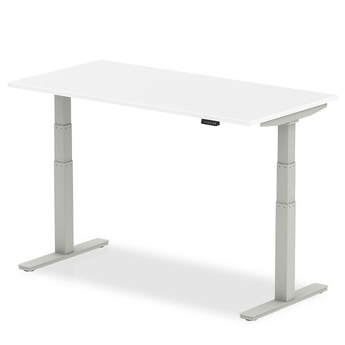 Air White Height Adjustable Desk With Silver Legs