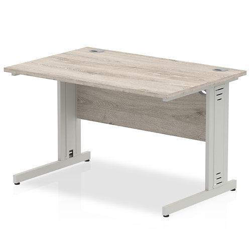 Impulse 1200/800 Rectangle Silver Cable Managed Leg Desk Grey Oak