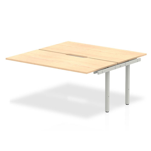 B2B Ext Kit Silver Frame Bench Desk 1600 Beech