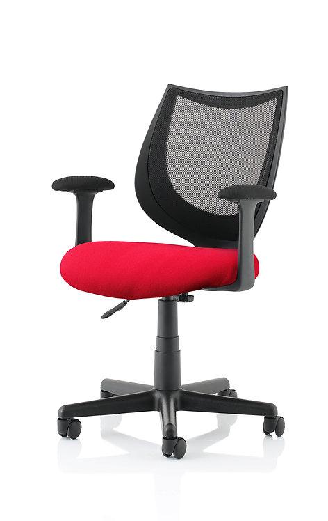 Camden Black Mesh Chair in Bespoke Seat Bergamot Cherry