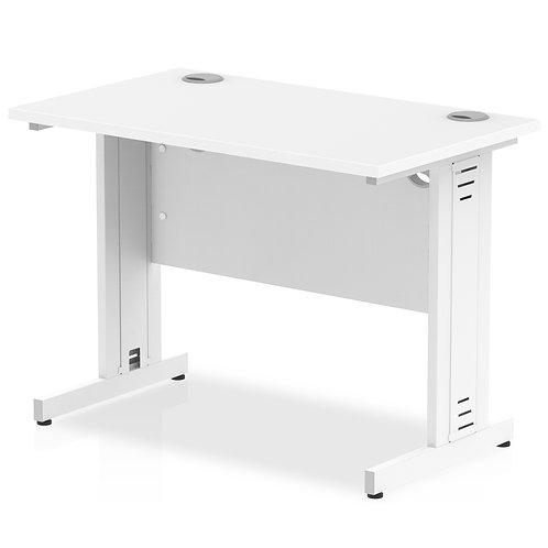 Impulse 1000/600 Rectangle Silver Cable Managed Leg Desk White