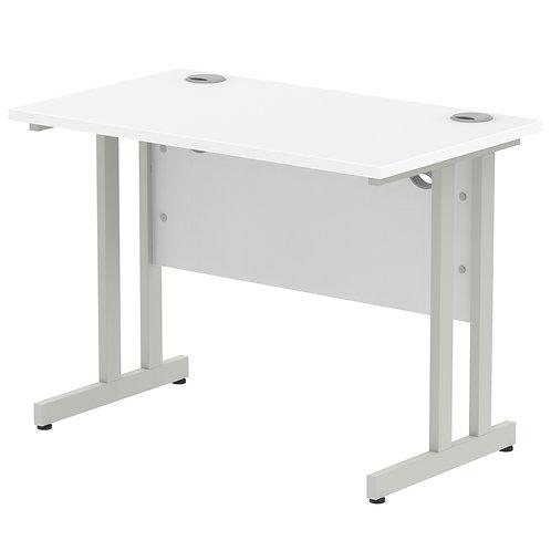 Impulse 1000/800 Rectangle Silver Cantilever Leg Desk White