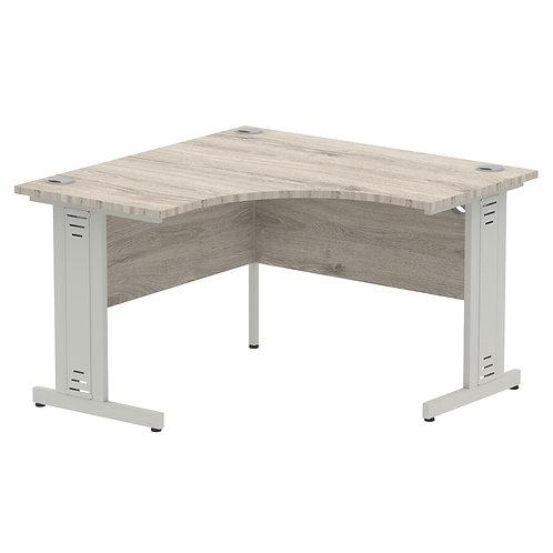 Impulse 1200 Corner Desk Silver Cable Managed Leg Desk Grey Oak