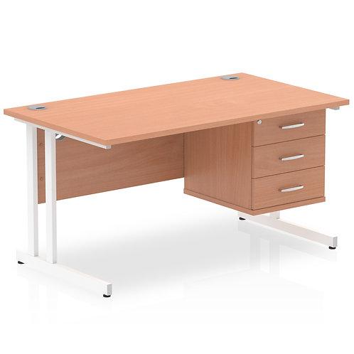 Impulse 1400 Rectangle White Cant Leg Desk Beech 1 x 3 Drawer Fixed Ped