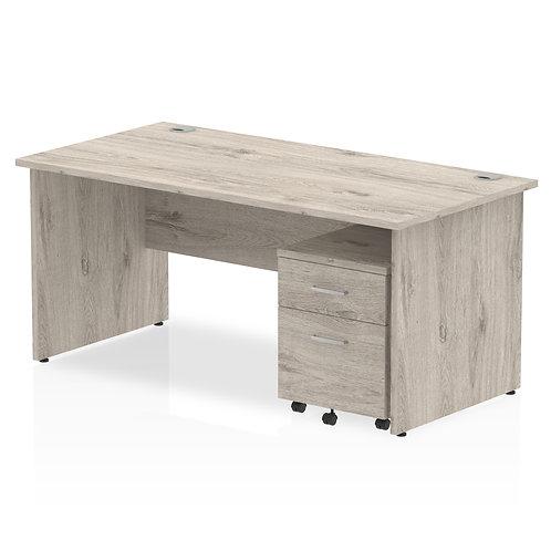 Impulse 1600 x 800mm Straight Desk Grey Oak End Leg Pedestal Bundle