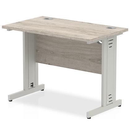 Impulse 1000/600 Rectangle Silver Cable Managed Leg Desk Grey Oak