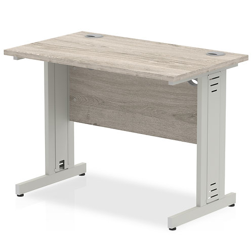 Impulse 1000/600 Rectangle Silver Cable Managed Leg Desk Grey Oak