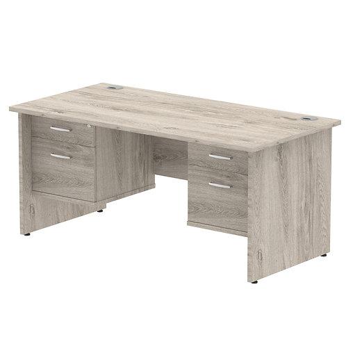 Impulse 1600 Rectangle Panel End Leg Desk Grey Oak 2 x 2 Drawer Fixed Ped