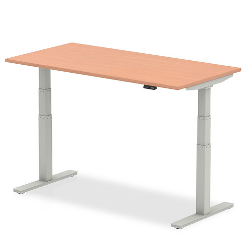 Air Beech Height Adjustable Desk With Silver Legs