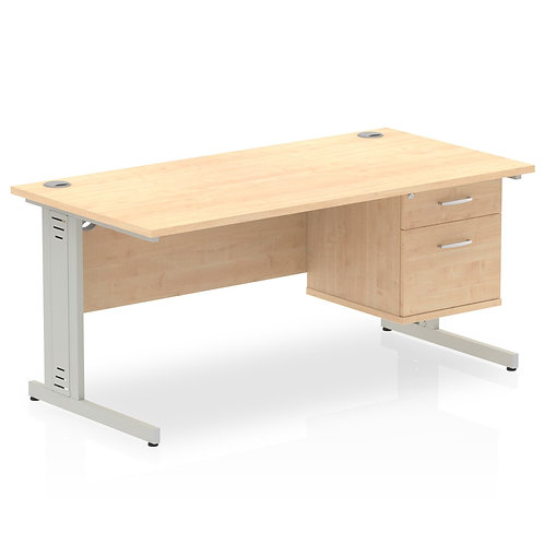 Impulse 1600 Rectangle Silver Desk Maple 1 x 2 Drawer Fixed Ped