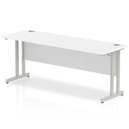 Impulse 1800/600 Rectangle Silver Cantilever Leg Desk White