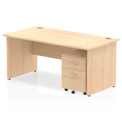 Impulse 1600 x 800mm Straight Desk Maple Top Panel End Leg Pedestal Bundle