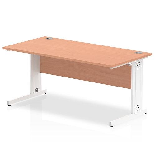 Impulse 1600/800 Rectangle White Cable Managed Leg Desk Beech
