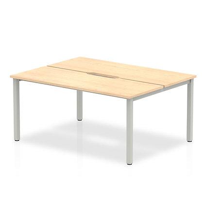 B2B Silver Frame Bench Desk 1400 Maple (2 Pod)